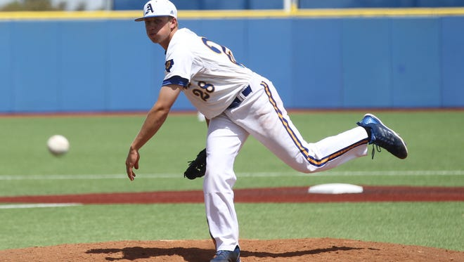 Angelo State's Cole Brandon fires a pitch against Tarleton State during a 2018 game. The Rams are up to No. 1 in the nation in this week's National College Baseball Writers Association Division II poll.