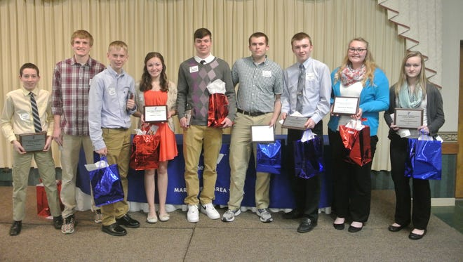 Pictured are Teens of Distinction award winners from left to right, Zackary Rusk (Marshfield Middle School), Aidan Masanz (Pittsville High School), Cole Hanson (Marshfield Middle School), Jillian Tyler (Granton High School), Jonathan Hardinger (Marshfield High School), Andrew Gilkerson (Marshfield High School), Garrett Rau (Abbotsford High School), Jazmine Sales (Abbotsford High School), Helen Durrant (Pittsville Junior High School). Missing Nick Okon (Marshfield High School).