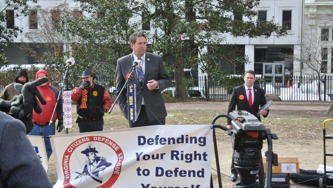 Del. Dave LaRock speaks at the gun rights rally in Virginia in January.