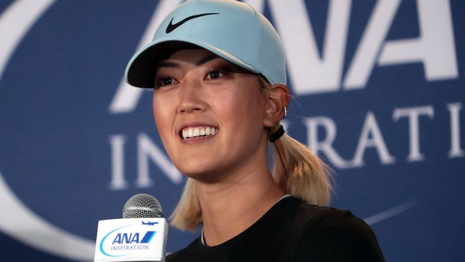 Michelle Wie speaks to media at the ANA Inspiration on Tuesday, March 27, 2018 in Rancho Mirage.