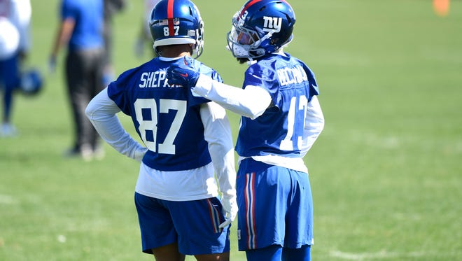 New York Giants wide receivers Sterling Shepard #87 and Odell Beckham Jr. #13 talk during the last day of mini camp in East Rutherford, NJ on Thursday, April 26, 2018.