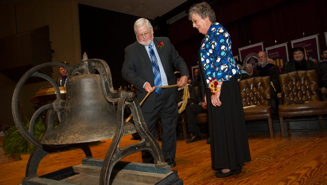 Drs. Milton and Patricia Tucker were Masters of the Bell on Wednesday at the 15th annual Tolling of the Bell, signaling the beginning of the Freed-Hardeman University academic school year. The Tuckers rang the bell 14 times, once for each decade of the university's existence.