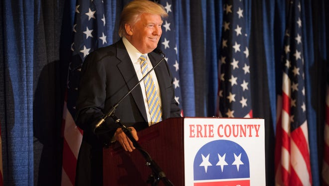 Donald Trump speaks  at the Erie County Republican Committee fundraiser at Salvatore's Italian Gardens in Depew Friday night.