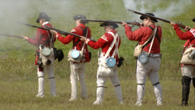 A reenactment of the American Revolution.