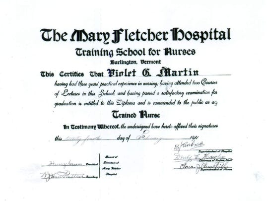 Violet Martin's nurse's training diploma.