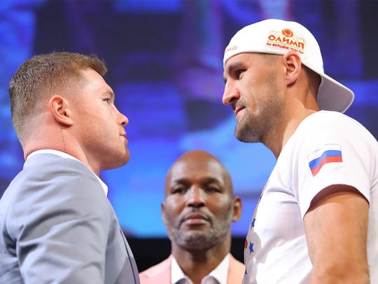 Canelo Alvarez (left) and Sergey Kovalev went nose to nose at the final news conference before their fight on Saturday.  Tom Hogan-Hoganphotos / Golden Boy Promotions