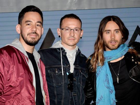 Musicians Mike Shinoda, Chester Bennington and Jared Leto