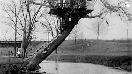 This view shows the Love Nest perched over Kreutz Creek in Hellam Township. The Love Nest was visible to passengers riding the train between York and Wrightsville. One of the railroad bridges spanning Kreutz Creek can be seen in the background of this frame from a 1928 British film.