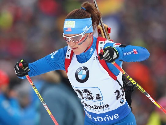 In her first event at the Pyeongchang Winter Olympics, Joanne Reid finished second-to-last in the women's biathlon 7.5 km sprint on Saturday.
