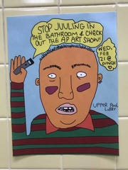 An anti-JUULing poster is on display in a Shorewood High School restroom.