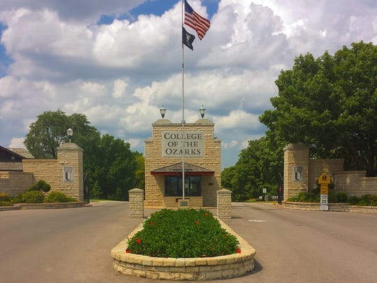 The front gate at the main entrance of the College of the Ozarks campus in Point Lookout, near Hollister.