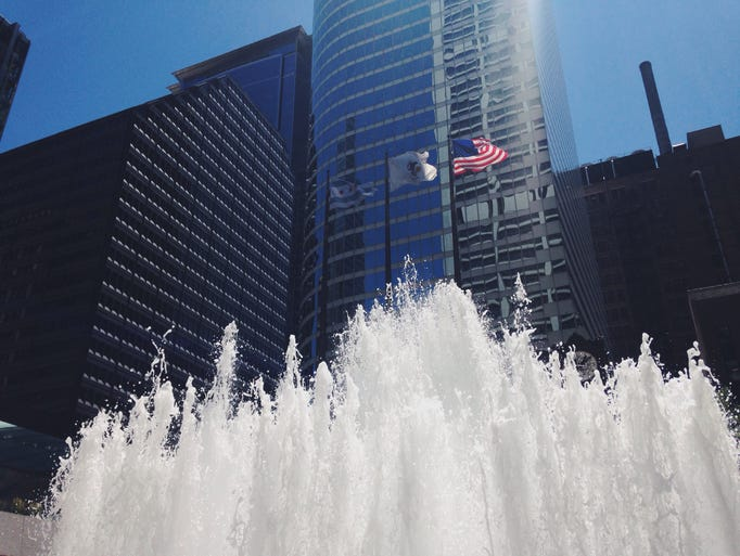 A magnificent view of the fountain at Chase Plaza in