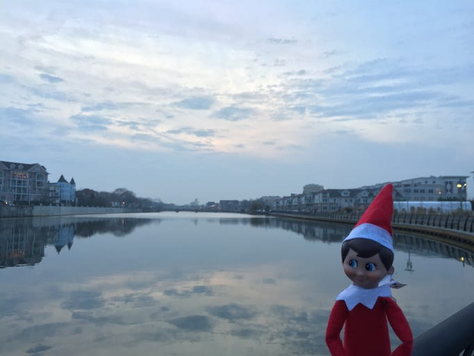 Elf on the Shelf takes in the beautiful views at Wesley
