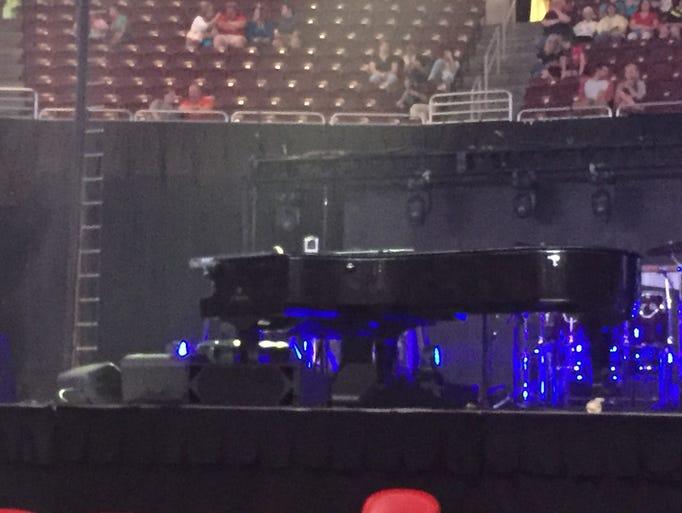 Elton John's piano waits for him to take the stage