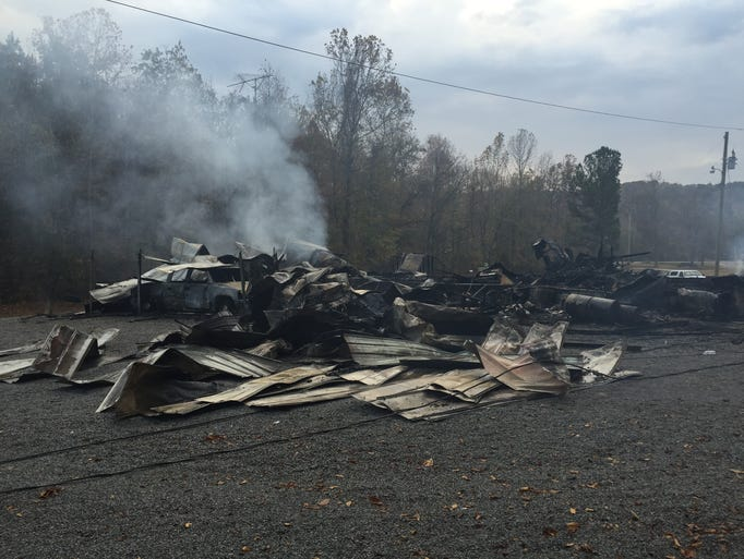 Crews at the scene of a mobile home explosion Tuesday,