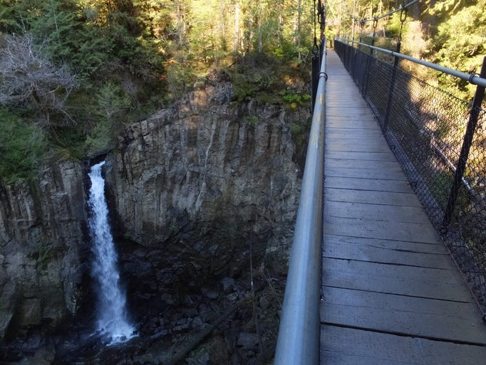 Views of beautiful Drift Creek Falls from the suspension