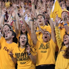 ASU fans cheer during the Territorial Cup football game against Arizona on Nov. 20, 2013, at Sun Devil Stadium in Tempe.