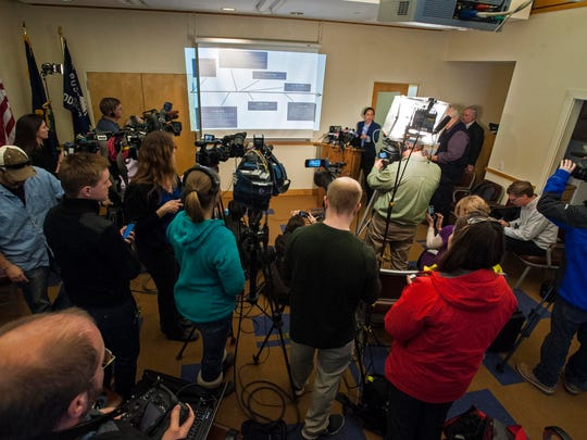 Middlebury Police Detective Kris Bowdish gives an update on the department's investigation of possible links between Robert Durst and the 1971 disappearance of Middlebury College student Lynne Schulze at a news conference on Tuesday, March 24, 2015.