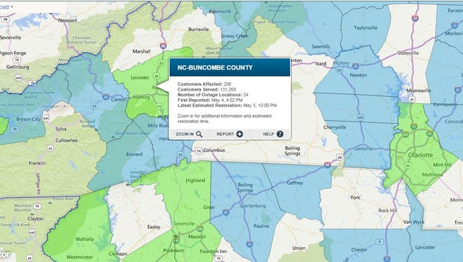About 200 people in Buncombe County had no power Friday May 5, 2017.
