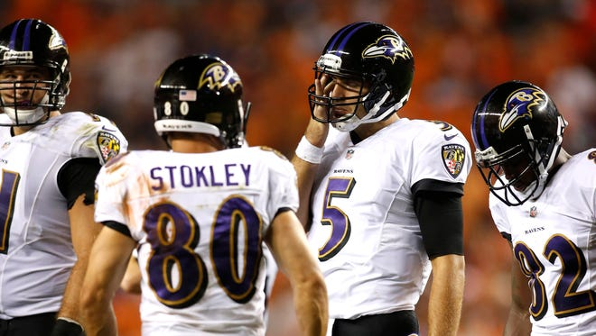 Ravens quarterback Joe Flacco threw two touchdowns and two interceptions in the team's disappointing start to the season, a 49-27 loss to the Broncos.