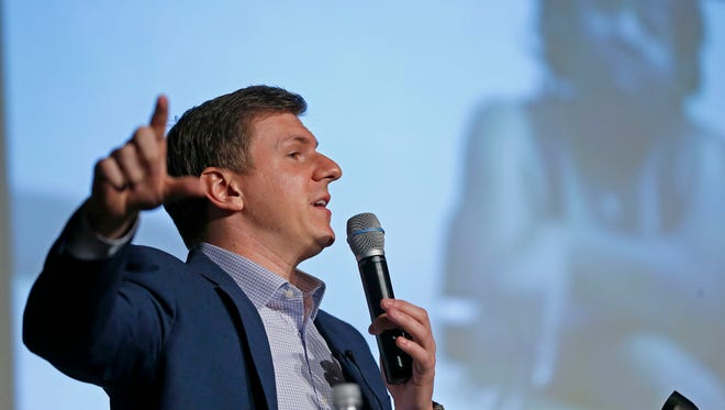 James O'Keefe, of Project Veritas, speaks at on the Southern Methodist University campus in Dallas on Nov. 29.