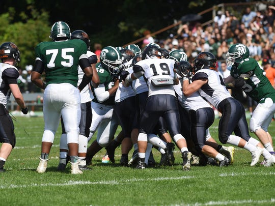 Opposing lines crash into one another during Saturday's