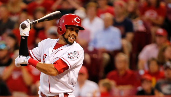 Cincinnati Reds center fielder Billy Hamilton (6) reacts after striking out in the fifth inning during the National League baseball game between the Milwaukee Brewers and the Cincinnati Reds on June 27, 2017 at Great American Ball Park.