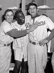 Brooklyn Dodgers Pee Wee Reese and  Jackie Robinson,