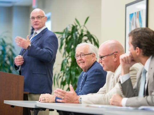 David Joyner, M.D., left, to right, James Andrews, M.D., Scott Raynes, and Roger Ostrander, M.D., during the Andrews Institute 10 Year Anniversary Media Day Event in Gulf Breeze on Wednesday, April 19, 2017.