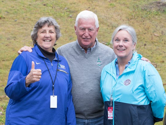 Past president Judy Bense, left, and current president Martha Saunders join Argo fans prior to the UWF vs West Alabama playoff football game in Livingston, Alabama on Saturday, December 2, 2017.