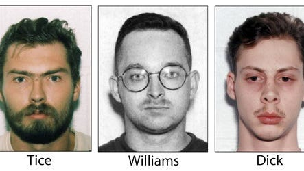 "FILE - This undated, combination file photo shows Derek Tice, from left, Danial Williams and Joseph Dick, who, along with Eric Wilson, were convicted in the 1997 rape and killing of Michelle Moore-Bosko. On Tuesday, March 21, 2017, Gov. Terry McAuliffe pardoned the four former sailors who became known as the ""Norfolk Four."" A spokesman for McAuliffe told The Associated Press on Tuesday that the governor has granted absolute pardons for the men. DNA evidence linked another man, Omar Ballard, to the crimes. He said he was solely responsible and is serving a life sentence."