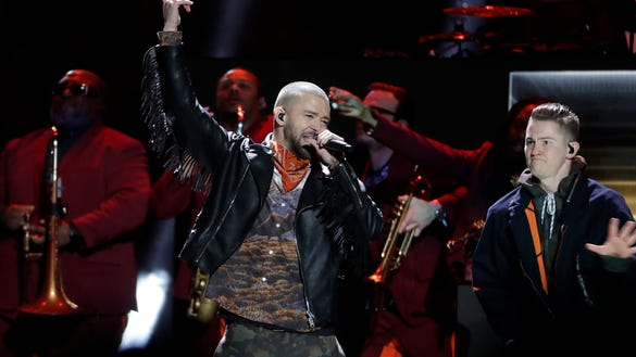 Justin Timberlake performs during halftime of the NFL Super Bowl 52 football game between the Philadelphia Eagles and the New England Patriots Sunday, Feb. 4, 2018, in Minneapolis. (AP Photo/Matt Slocum)