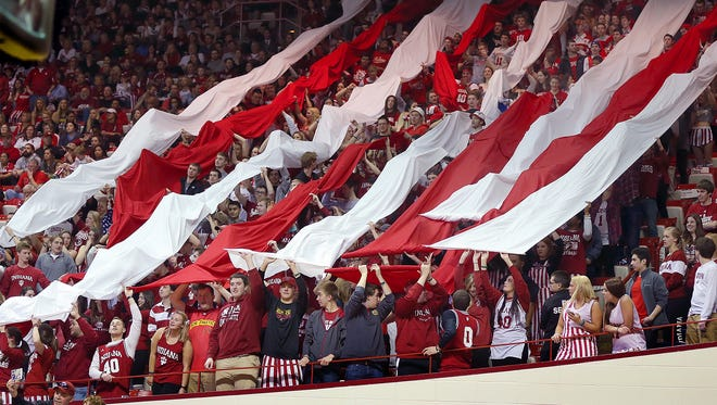 The Indiana Hoosiers student fan section rolled down the cream and crimson candy stripes prior to their game Sunday in Assembly Hall. Indiana defeated the Michigan Wolverines 70-67 Sunday, February 8, 2015, afternoon at Assembly Hall in Bloomington IN.