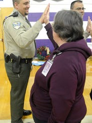 Lyon County Sheriff's Deputy Mike McCullough participates