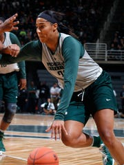 Michigan State's Taya Reimer drives during a scrimmage Friday, Oct. 14, 2016, in East Lansing, Mich.