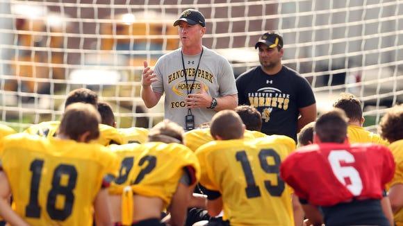 Hanover Park football head coach Gerry Moore talks to his team during practice. August 25, 2016, East Hanover, NJ