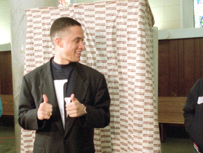 Ninth Congressional District Democratic Candidate Harold Ford Jr. gives two thumbs up after voting at St. Patrick's Cathedral in Memphis, Tenn. Tuesday Nov. 5, 1996. Ford seeks the seat held by his father Harold Ford, Sr. who is retiring.