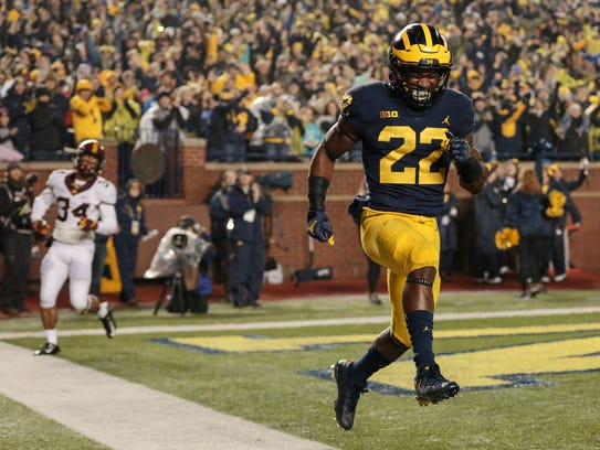 Nov. 4: Michigan running back Karan Higdon celebrates