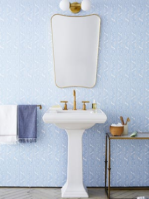 Isn't it amazing how wallpaper dresses up even a small bathroom?
