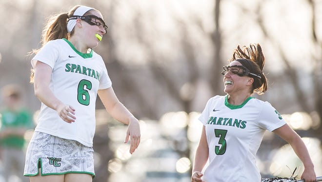York College's Meghan Fox (6) scored two goals, including the game-winner, in the Spartans' 5-4 win over St. John Fisher in the second round of the women's NCAA tournament on Sunday.