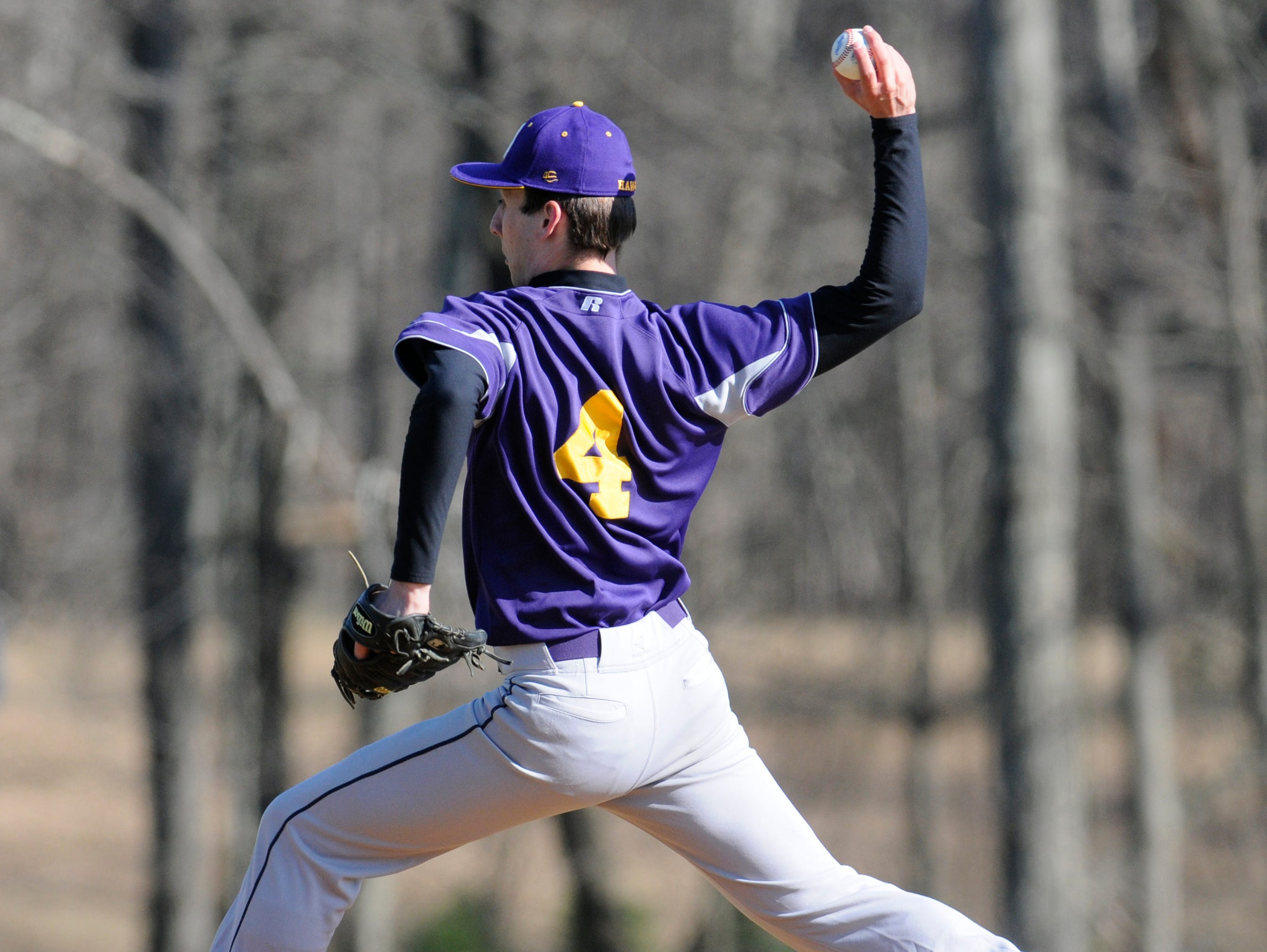 Rhinebeck's Chris Cassens pitches during Wednesday's home game versus Webutuck.