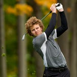 Alex Hepburn, of Corning, watches his tee shot fly on the 10th hole on his way to winning the Southern Tier Athletic Conference golf championship at Cornell University's Robert Trent Jones Golf Course this season. Hepburn shot an even-par 71 and won by two shots.