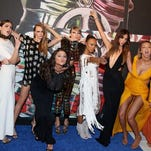 SQUAD GOALS: Martha Hunt, Hailee Steinfeld, Cara Delevingne, Selena Gomez, Taylor Swift, Serayah, Lily Aldridge, Gigi Hadid, and Karlie Kloss let their hair down at the VMAs.
