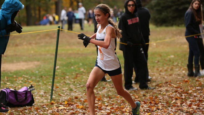 Indian Hills freshman Madeline Barney gets to the finish line at the Bergen XC Championships.