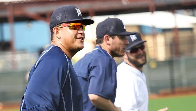 Detroit Tigers first baseman Miguel Cabrera participates in warm-ups during spring training at Joker Marchant Stadium in Lakeland, Fla., on Tuesday, Feb. 23, 2016.