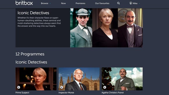 A screen shot of the BritBox streaming video service.