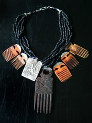 African Comb necklace by Anna Holland of Dorje Designs, creator of unique ethnic and tribal jewelry.