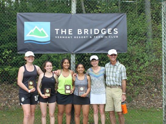 From left, CVU tennis players Erika Barth, Meara Heininger,