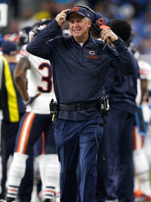 Chicago Bears head coach John Fox takes off his headset during the second quarter against the Detroit Lions at Ford Field on Dec. 11, 2016.