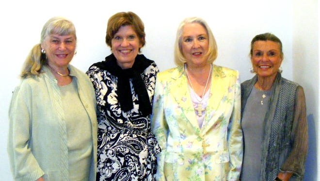 (left to right): Secretary/Treasurer Donna Martin, guest author Lynne Olson, President Nancy Cunningham and sponsor Sis Jackson.